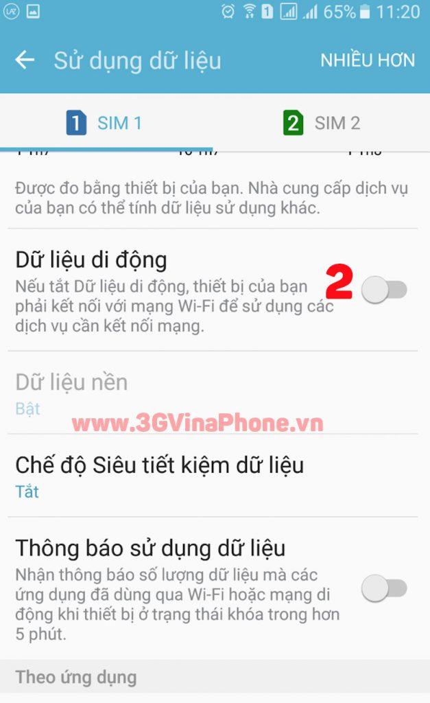 Cách Bật/Tắt mạng 3G VinaPhone để sử dụng dịch vụ: