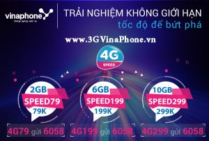 Đăng ký các gói 4G Data Speed Vinaphone tốc độ cao