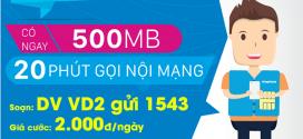 Đăng ký gói cước VD2 Vinaphone có 20 phút gọi + 500MB chỉ 2.000đ/ngày