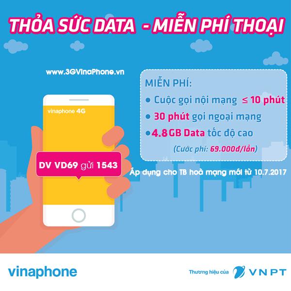 Đăng ký gói VD69 VinaPhone miễn phí gọi thoại + 4.8 Gb data miễn phí