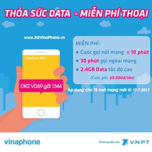 Đăng ký gói VD69 VinaPhone miễn phí gọi thoại + 2,4Gb data