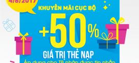 Khuyến mãi VinaPhone ngày 4/8 tặng 50% giá trị thẻ nạp cục bộ