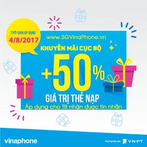 Khuyến mãi VinaPhone ngày 4/8 tặng 50% giá trị thẻ nạp