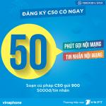 Đăng ký gói C50 Vinaphone có 50 phút gọi và 50 tin nhắn