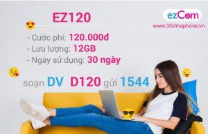 Cú pháp đăng ký gói EZ120 của Vinaphone nhận 12GB data chỉ 120.000