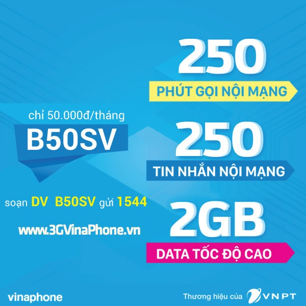 Đăng ký gói B50SV Vinaphone sinh viên 250 phút, 250SMS, 2GB