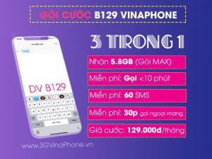 Đăng ký B129 Vinaphone miễn phí tất cả cuộc gọi dưới 10 phút + gói MAX