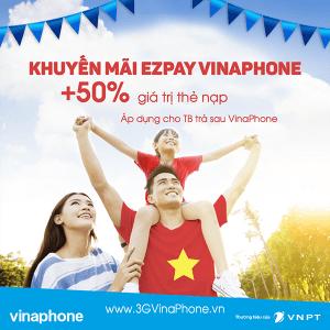 Khuyến mãi Vinaphone tặng 50% giá trị thẻ nạp EZPay ngày 5/9/2017