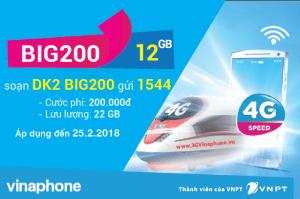 Đăng ký gói BIG200 Vinaphone miễn phí 22 GB DATA tốc độ cao
