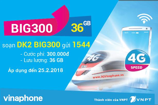 Đăng ký gói BIG300 Vinaphone miễn phí 36GB Data giá chỉ 300.000đ