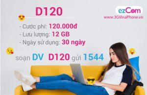Đăng ký gói D120 Vinaphone nhận ngay 12GB data chỉ 120.000