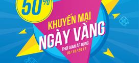 VinaPhone khuyến mãi 10/10/2017 tặng 50% giá trị thẻ nạp ngày vàng