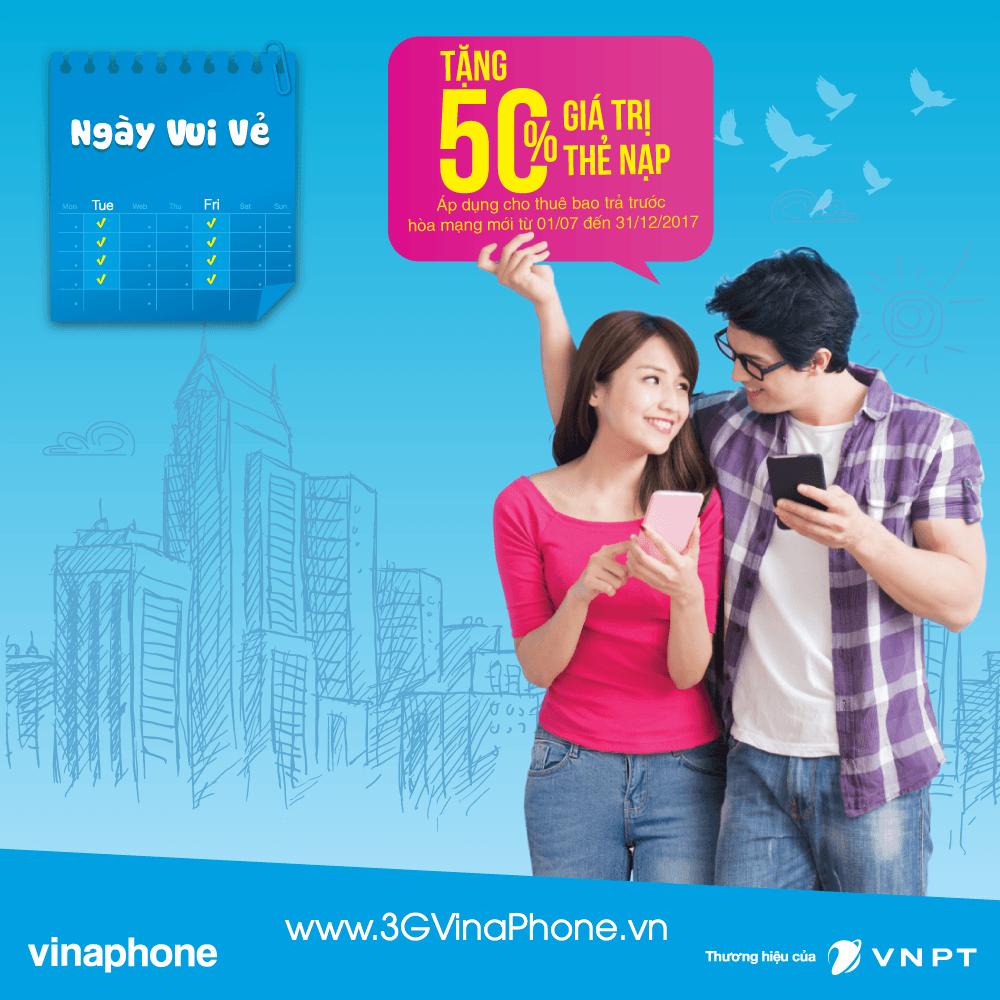 Khuyến mãi 50% giá trị thẻ nạp Vinaphone thứ 3 ngày 17/10/2017