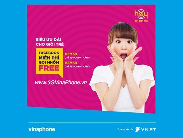 Sim HEY Vinaphone Miễn phí data 3G/4G Facebook và cước gọi nhóm