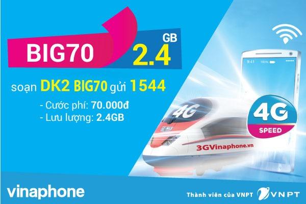 Cú pháp đăng ký gói BIG70 Vinaphone miễn phí4,8 GB lưu lượng chỉ với 70.000đ