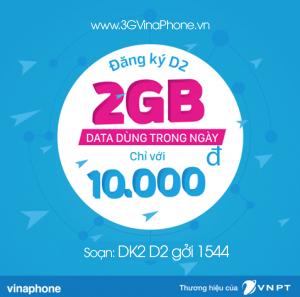 Cách đăng ký gói D2 Vinaphone 10.000: có 2GB dùng 24h