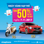 Khuyến mãi ngày vàng VinaPhone 7/11/2017 tặng 50% giá trị thẻ nạp