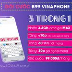 Đăng ký gói cước B99 Vinaphone miễn phí gói MAX + các cuộc gọi dưới 10 phút