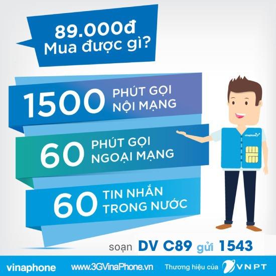 Đăng ký gói cước C89 Vinaphone nhận 1500 phút gọi + 60 SMS