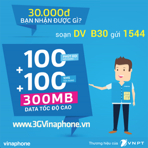Gói cước B30 Vinaphone miễn phí gọi, nhắn tin, data 3G 4G
