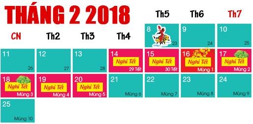Lịch nghỉ Tết Nguyên đán Mậu Tuất 2018 chính thức