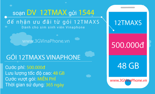 Đăng ký gói 12TMAXS Vinaphone Gói MAXS Vinaphone 12 tháng trọn gói