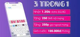 Đăng ký gói B100 của Vinaphone ưu đãi 1,2GB data + 250p gọi 250sms