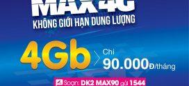 Đăng ký gói cước 4G MAX90 Vinaphone nhận 4GB data trọn gói chỉ 90.000đ