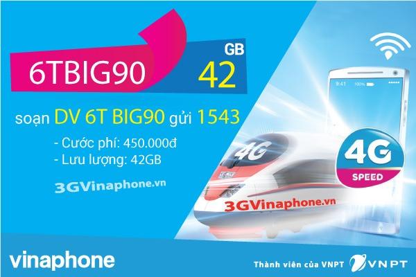 Cách đăng ký gói cước 6TBIG90 Vinaphone chu kỳ 6 tháng nhận 42Gb data