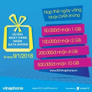 Khuyến mãi Vinaphone nạp thẻ tặng Data ngày vàng 9/1/2018Khuyến mãi Vinaphone nạp thẻ tặng Data ngày vàng 9/1/2018