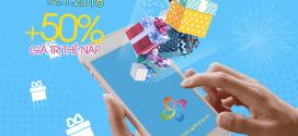 Khuyến mãi ngày vàng nạp thẻ Vinaphone 12/1/2018 tặng 50% giá trị thẻ nạp
