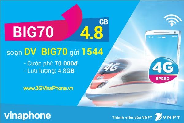 Đăng ký gói BIG70 Vinaphone miễn phí 4,8 GB data chỉ 70.000đ