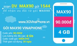 Đăng ký gói cước 4G MAX90 Vinaphone nhận 4GB data trọn gói chỉ 90.000