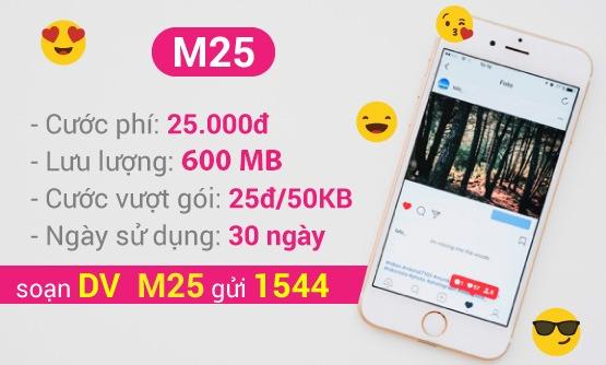 Đăng ký gói cước 3G M25 VinaPhone giá cước chỉ 25.000đ