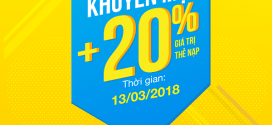 Khuyến mãi Vinaphone tặng 20% giá trị thẻ nạp ngày 13/3/2018