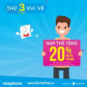 Khuyến mãi Vinaphone 6/2/2018 tặng 20% giá trị thẻ nạp thứ 3 vui vẻ