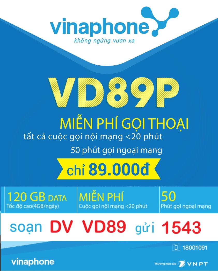 Đăng ký gói cước VD89P Vinaphone nhận 120GB + Gọi thả ga - VD89 Plus Vinaphone
