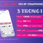 Đăng ký gói cước VD149 Vinaphone nhận 120GB + gọi thả ga Không Giới Hạn