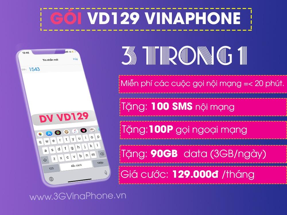 Đăng ký gói cước VD129 Vinaphone ưu đãi 90GB data + gọi thả ga