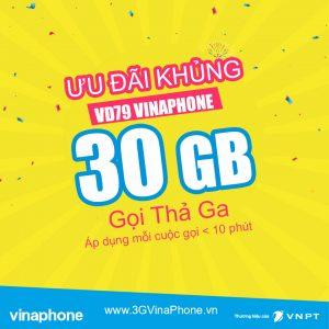Đăng ký gói cước VD79 VinaPhone Miễn Phí 30GB + Gọi < 10 phút