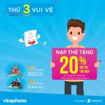 Khuyến mãi Vinaphone 15/5/2018 tặng 20% giá trị thẻ nạp thứ 3 vu