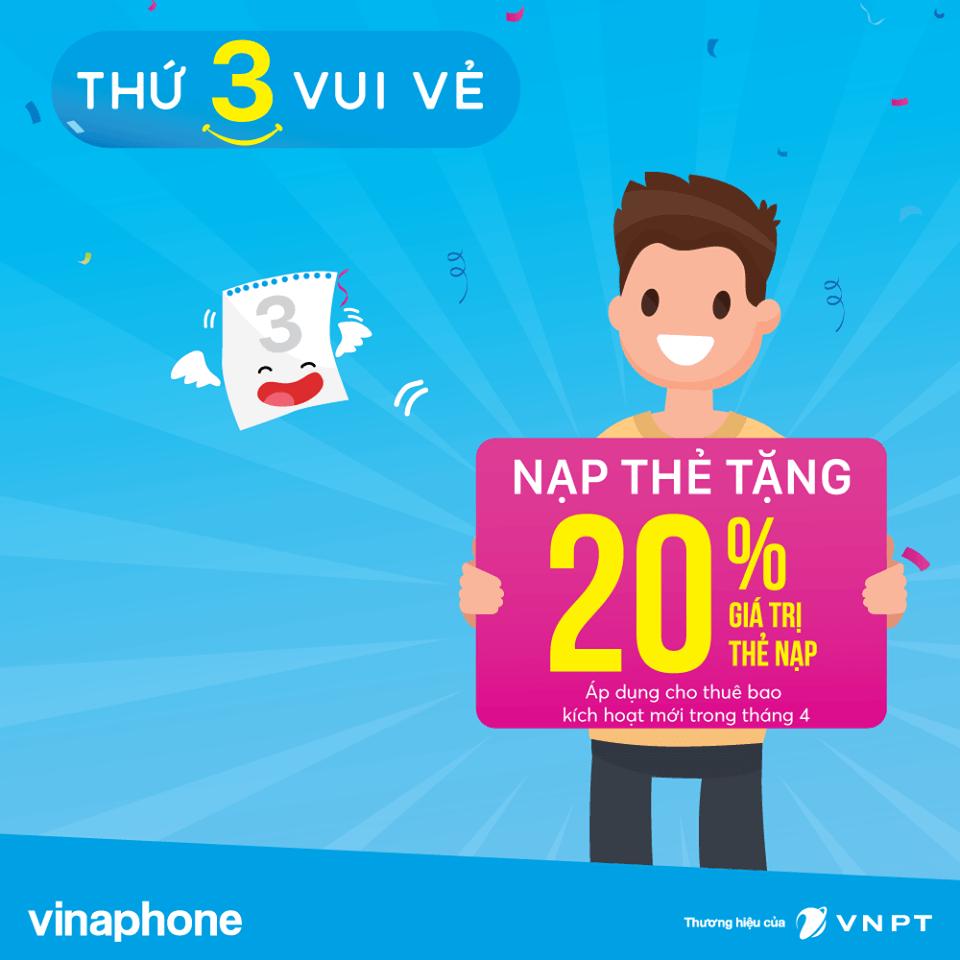 Khuyến mãi Vinaphone 3/4/2017 tặng 20% giá trị thẻ nạp thứ 3 vui vẻ