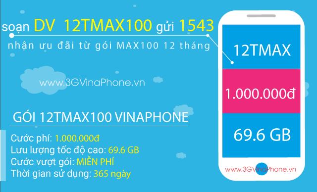 Để thoải mái truy cập Internet trong suốt 1 năm mà không cần phải mất công đăng ký gói cước vào mỗi tháng, bạn không nên bỏ lỡ gói cước 12TMAX100 Vinaphone. Đây là một trong các gói cước 3G/4G Vinaphone chu kỳ dài có thời hạn sử dụng gói cước lên đến 1 năm. Giá cước đăng ký gói 12TMAX100 Vinaphone là 1.000.000đ/12 tháng sử dụng, giúp bạn tiết kiệm được số tiền lên đến 360.000đ. Bạn muốn sử dụng gói MAX100 Vinaphone trong thời gian dài với mức giá tiết kiệm hơn thì đừng bỏ lỡ gói cước 12TMAX100 Vinaphone nhé.  Đăng ký gói 6TMAX100 Vinaphone trọn gói 6 tháng không giới hạn Hướng dẫn cách đăng ký 3G Vinaphone mới nhất 2018 data khủng Gói MAX100 Vinaphone 12 tháng có ưu đãi 2.4GB/tháng x 12 tháng, giúp thuê bao thoải mái truy cập Internet không giới hạn dung lượng trong suốt năm. Đăng ký gói cước một lần, thả ga trải nghiệm Internet 12 tháng mà không cần phải lo lắng gì nữa. Cùng xem thông tin chi tiết cách đăng ký gói cước 12TMAX100 Vinaphone trong bài viết sau đây nhé.  Đăng ký gói 12TMAX100 Vinaphone Đăng ký gói 12TMAX100 Vinaphone nhận ưu đãi hấp dẫn  Cách đăng ký gói cước 12TMAX100 Vinaphone: Thuê bao đăng ký gói cước 12TMAX100 Vinaphone chỉ cần soạn tin nhắn theo cú pháp:  DV 12TMAX100 gửi 1543 (miễn phí)  Hoặc bạn chỉ cần bấm vào nút   Ưu đãi của gói 12TMAX200 Vinaphone: Tặng 2.4GB/tháng x 12 tháng thả ga truy cập Internet tốc độ cao không giới hạn dung lượng. Miễn phí 100% cước phát sinh ngoài gói. Thuê bao sử dụng hết ưu đãi Data 3G Vinaphone/4G Vinaphone có trong gói cước vẫn được truy cập Internet tốc độ cao mà không phải trả thêm cước phí. Thông tin đăng ký gói 12T MAX100 Vinaphone: Cước đăng ký gói MAX100 Vinaphone 12 tháng: 1.000.000đ/12 tháng (trung bình chỉ 70.000đ/tháng). Thời hạn sử dụng gói cước: 12 tháng tính từ thời điểm đăng ký thành công. Đối tượng sử dụng gói: Thuê bao di động trả trước đang hoạt động. Phạm vi triển khai: Toàn quốc. Hỗ trợ sử dụng gói cước 12TMAX100 Vinaphone: Thuê bao sau khi đăng ký gói cước thành công, bạn lưu ý khởi động lại 