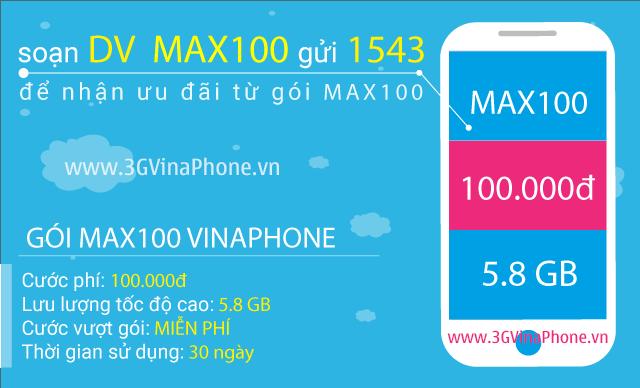 Đăng ký gói MAX100 Vinaphone trọn gói nhận 5.8 Gb Data chỉ 100.000đ