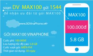 Đăng ký gói MAX100 Vinaphone trọn gói 100.000đ có 5.8 Gb Data