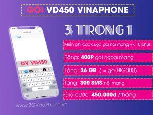 Đăng ký gói cước VD450 Vinaphone miễn phí 400p gọi + 36 GB + SMS