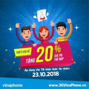 Khuyến mãi Vinaphone 23/10/2018 tặng 20% giá trị thẻ nạp thứ 3 vui vẻ