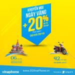 Khuyến mãi Vinaphone ngày vàng 8/5/2018 tặng 20% giá trị thẻ nạp