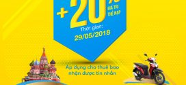 Vinaphone khuyến mãi ngày 29/5/2018 tặng 20% giá trị thẻ nạp cục bộ