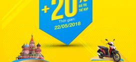 Vinaphone khuyến mãi tặng 20% giá trị thẻ nạp ngày vàng 22/5/2018